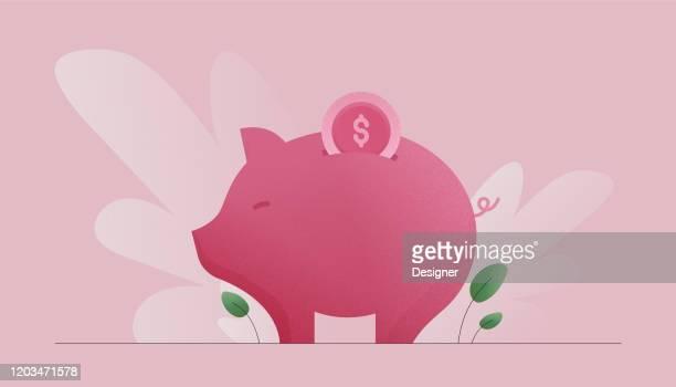 illustrazioni stock, clip art, cartoni animati e icone di tendenza di illustrazione vettoriale del concetto di risparmio di denaro. design moderno piatto per pagina web, banner, presentazione ecc. - rosa pallido