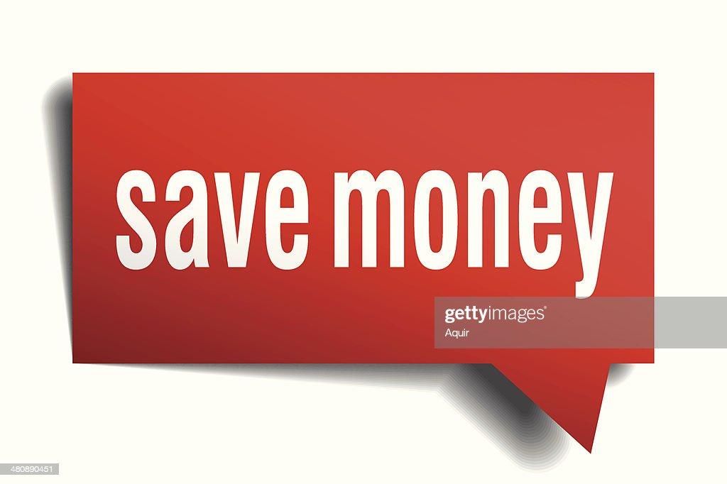 Save money red 3d realistic paper speech bubble