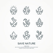 Save nature. The set of linear forest of icons. Vector animals and plants