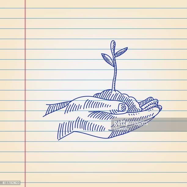 ilustrações, clipart, desenhos animados e ícones de save plant concept drawing on ruled paper - produto local
