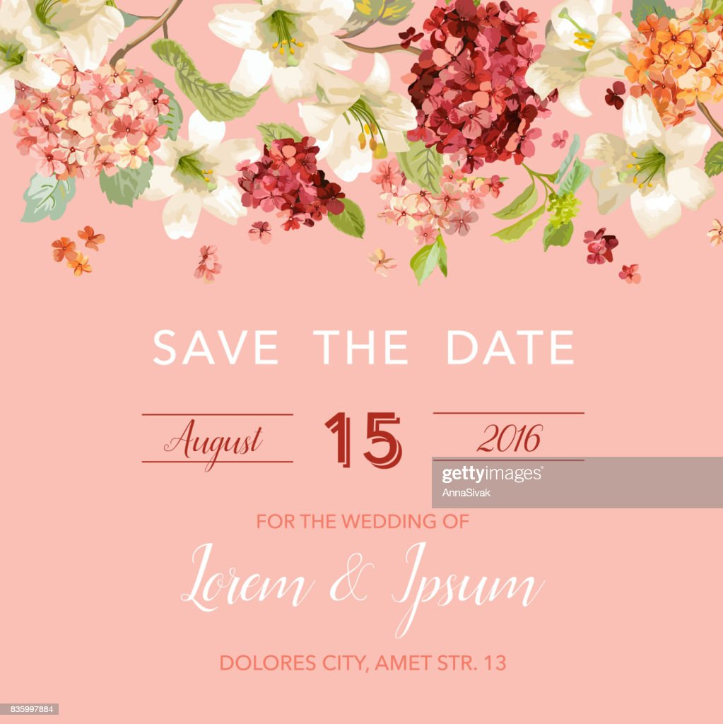 Save the Date Autumn and Summer Floral Card in Watercolor Style. Vector Vintage Hortensia Flowers