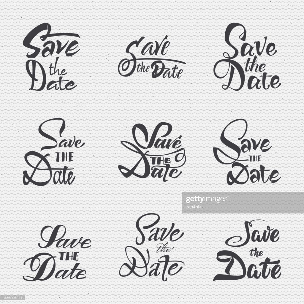 Save the date - calligraphic lettering badge label for design
