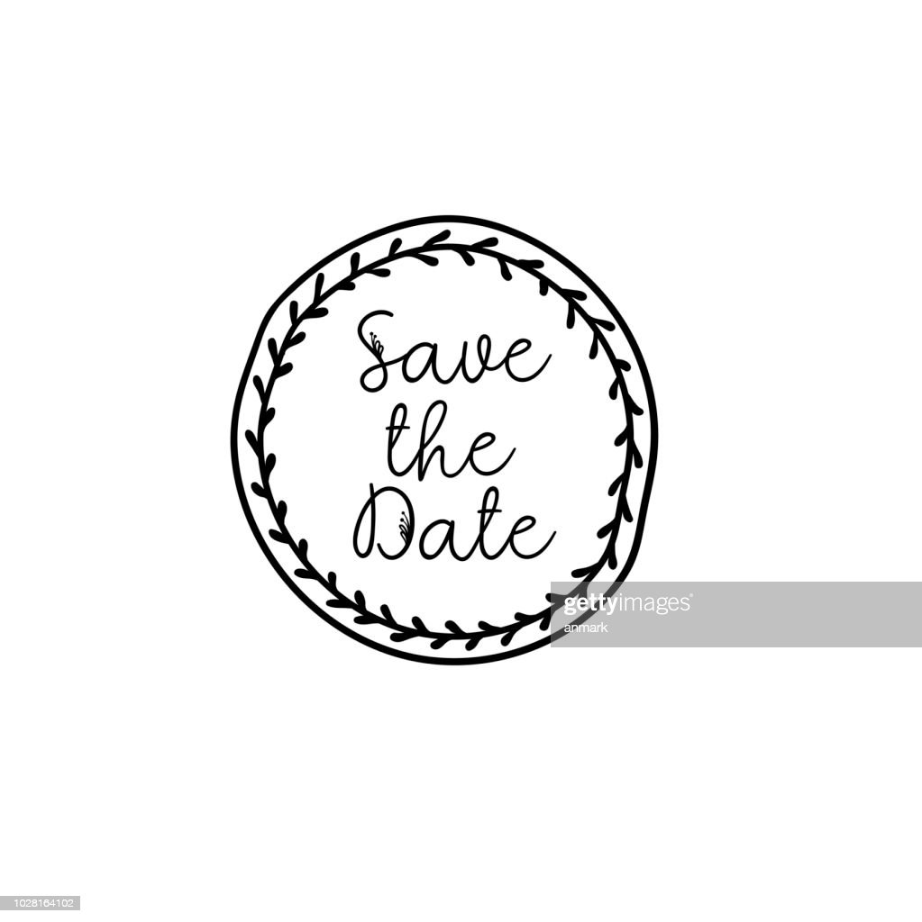 Save the Date calligraphy. Wedding phrase for invitations design, cards, banners, photo overlays. Isolated on white.