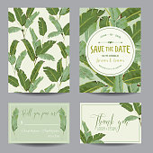 Save the Date Card. Tropical Banana Leaves. Wedding Card. Invitation