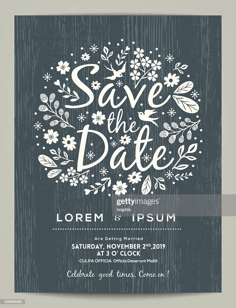 save the date card with hand drawn illustration