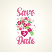 Save the date card with wedding bouquet and engagement rings