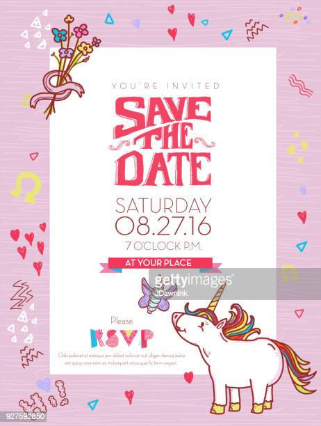 save the date celebration invitation design template with happy things. - unicorn stock illustrations, clip art, cartoons, & icons