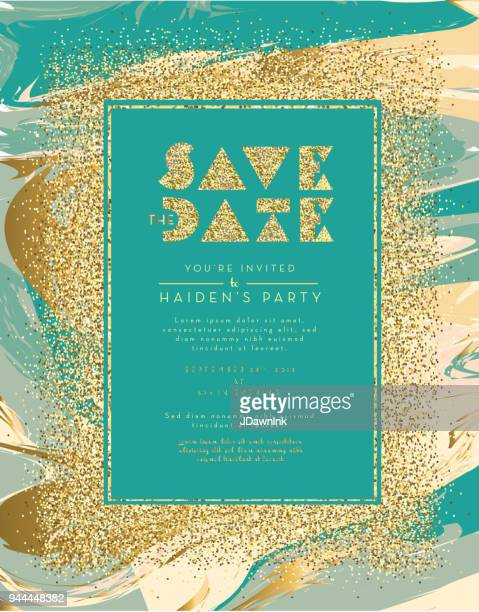 Save the date glitter and marble invitation design template