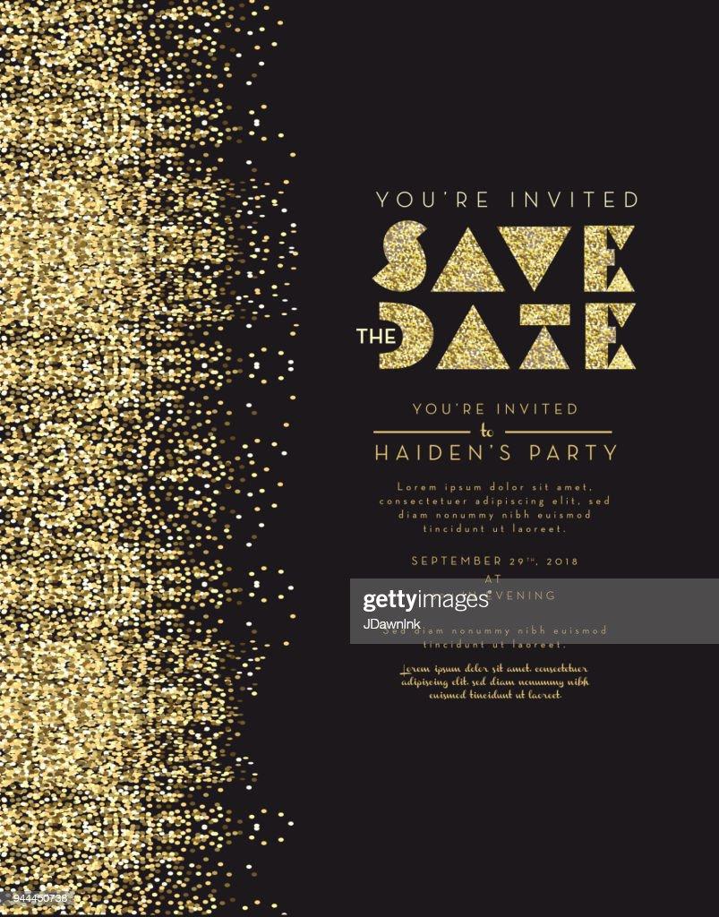 Save the date glitter invitation design template vector art getty save the date glitter invitation design template vector art stopboris Image collections