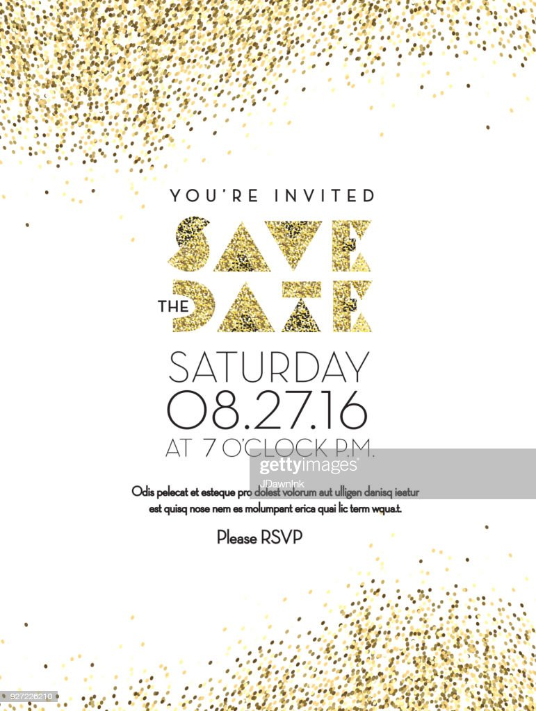 Save the date golden glitter invitation design background vector art save the date golden glitter invitation design background vector art stopboris Image collections