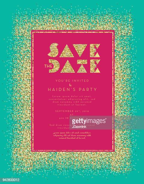 Save the date Golden Glitter invitation design template background