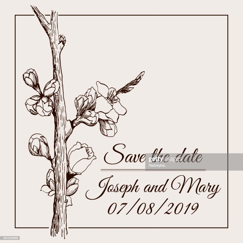 Save the date graphic card for wedding with blossomed tree branch in vector EPS8