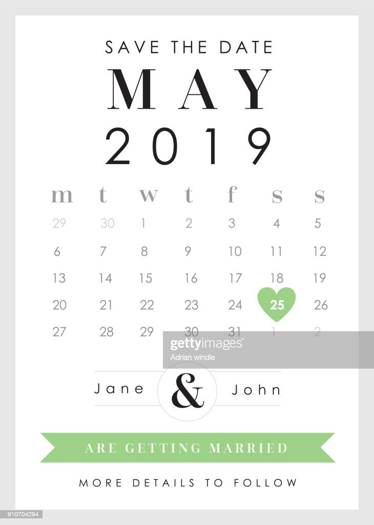 Save the Date Green Heart theme