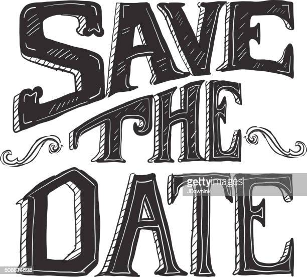 Save the date hand lettering word design