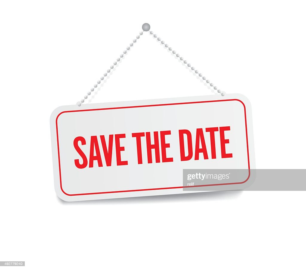 Save the date hanging sign isolated on white wall