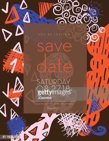 フラット抽象的な落書きを日付の招待状のデザイン テンプレートを保存し