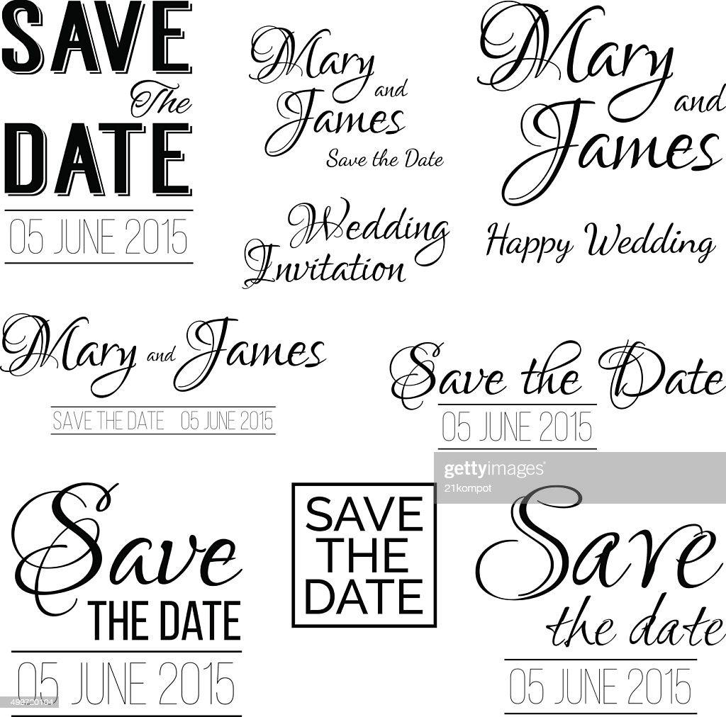 Save the date logos. Set of wedding invitation vintage typography