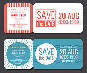 Save the date minimalist invitation ticket vector design. Wedding cards modern template