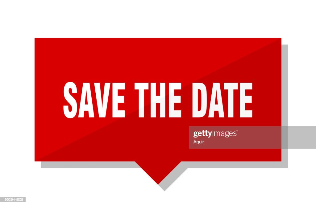 save the date red tag