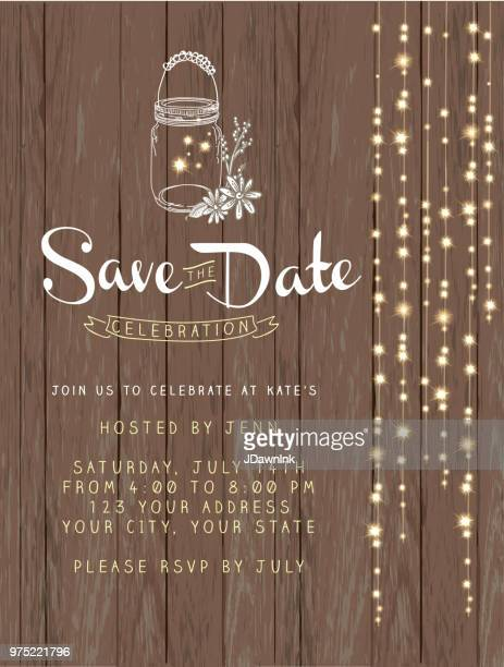 Fabulous Save The Date String Lights Design Invitation Background On Rustic Wood With