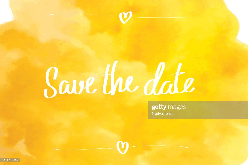 Save the date typographic yellow