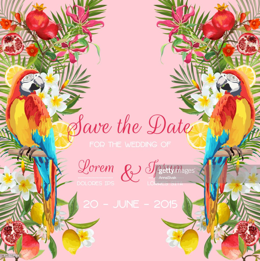 Save The Date Wedding Card With Tropical Flowers Fruits Parrot
