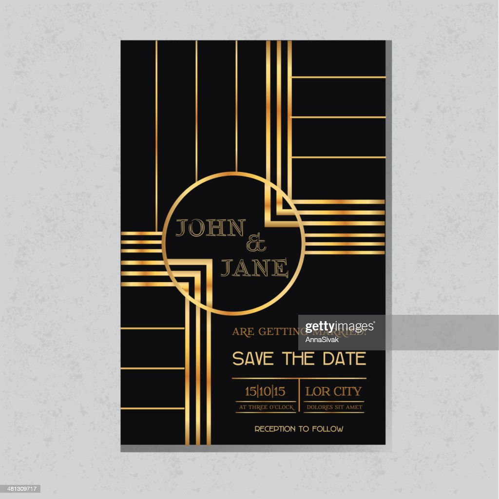 Save the Date  - Wedding Invitation Card Art Deco Design