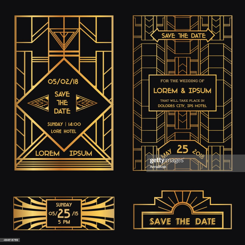 Save the Date - Wedding Invitation Card Art Deco