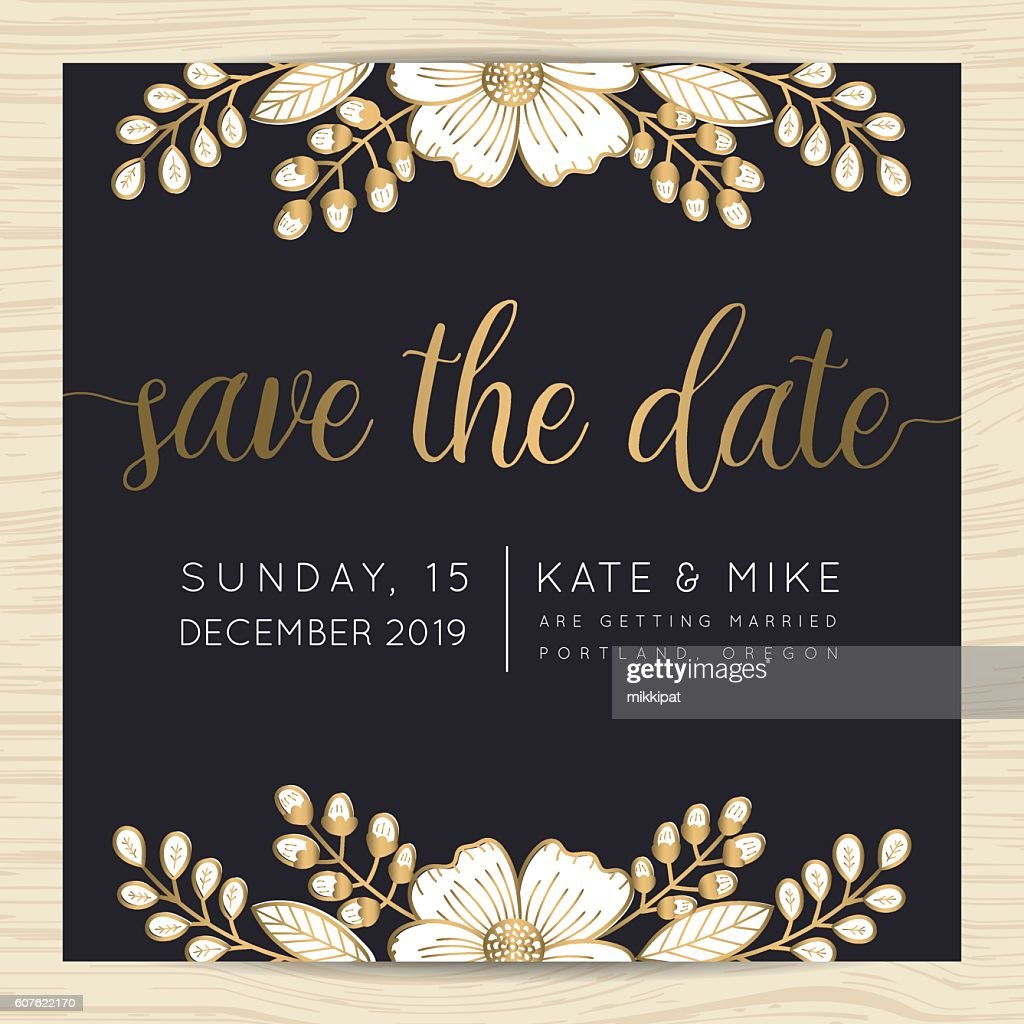 Save The Date Wedding Invitation Card Template With Flower