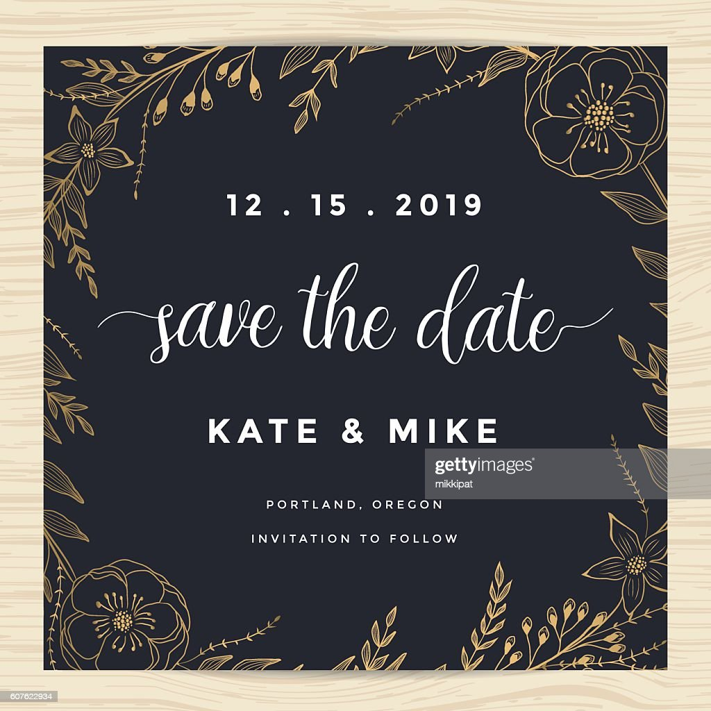 Save the date, wedding invitation card template with flower wreath.