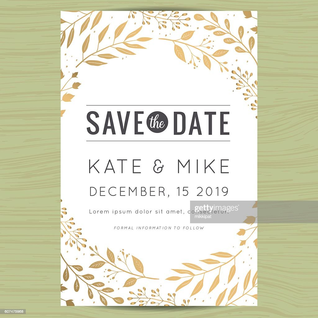 Save the date, wedding invitation card with flower floral background.