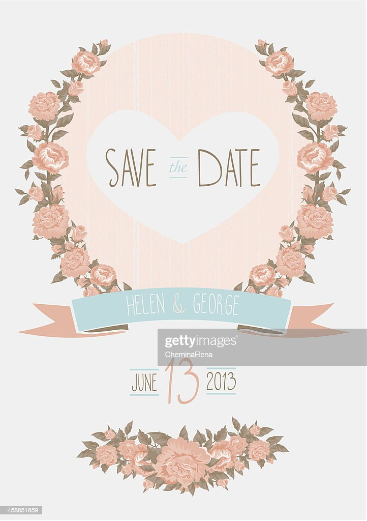 Save The Date Wedding Invitation Shabby Chic Template Vector Il ...