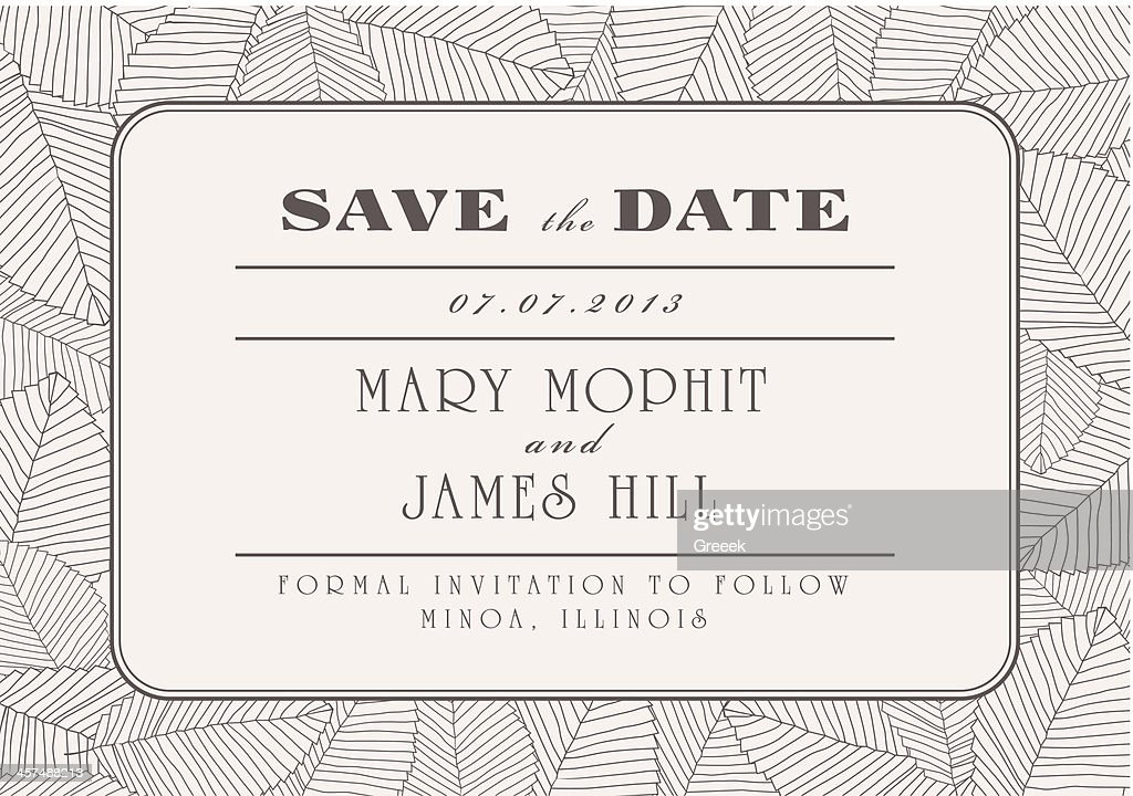 Save the date wedding invitation template with line leaves