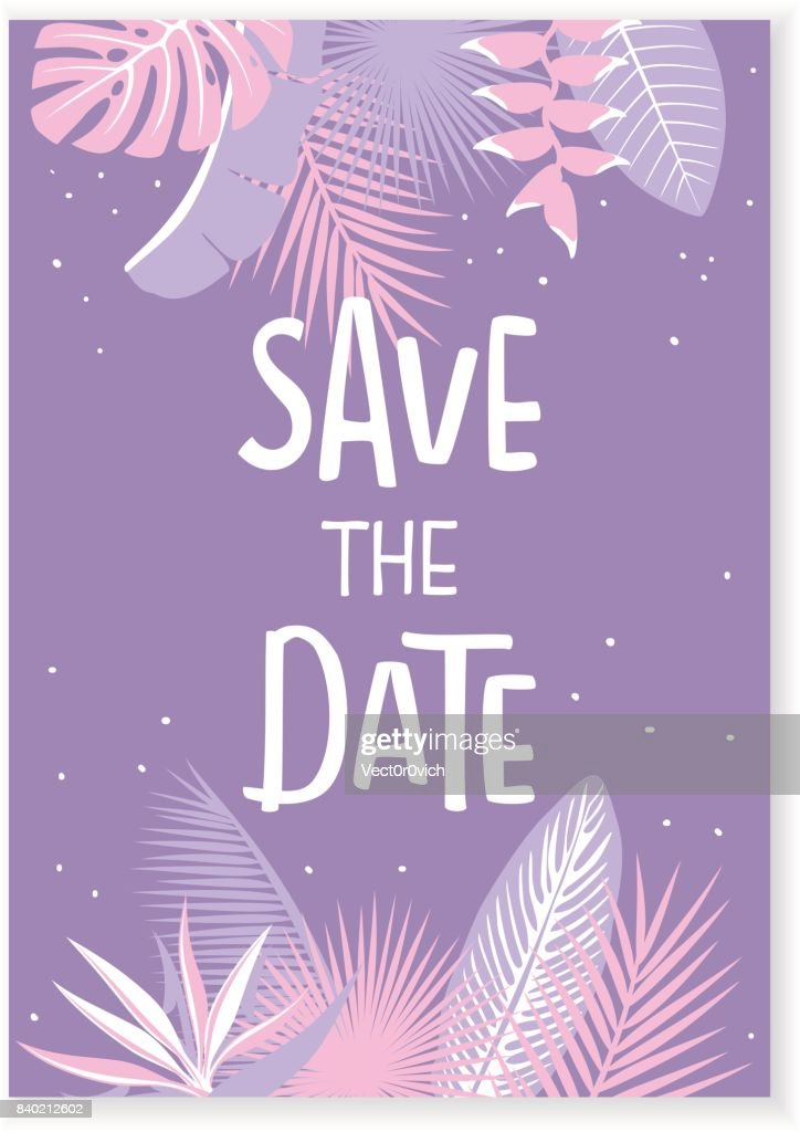 save the date wedding invitation template with tropical leaves in