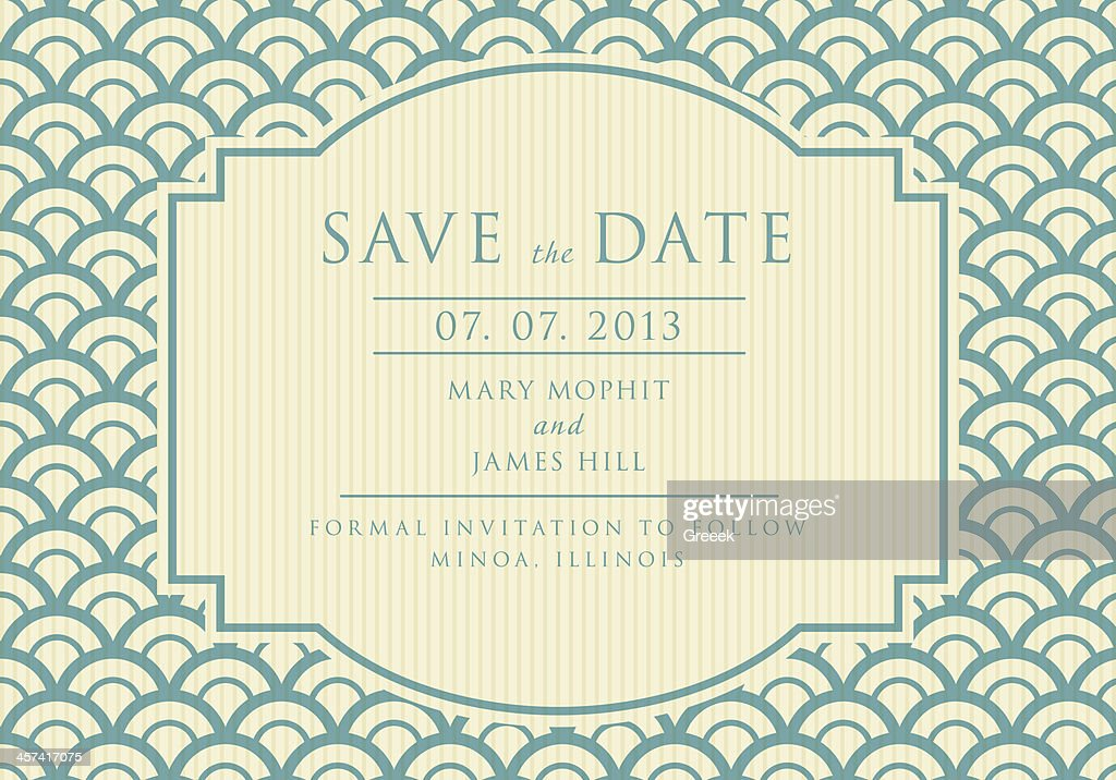 Save the Date with vintage background artwork in blue