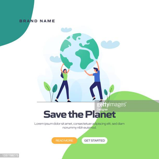 save the planet concept vector illustration for website banner, advertisement and marketing material, online advertising, business presentation etc. - environmental issues stock illustrations
