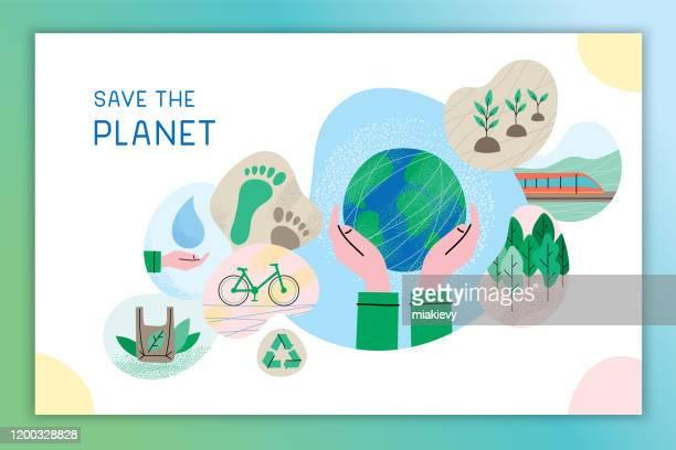 rette den planeten - gesellschaftliches symbol stock-grafiken, -clipart, -cartoons und -symbole