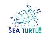 Save The Sea turtle seamless icon isolated on a white background