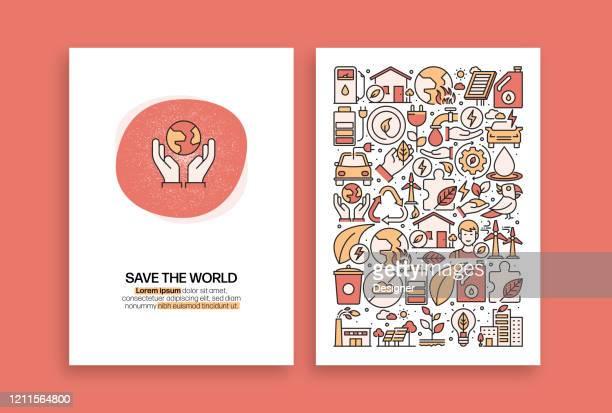 ilustrações de stock, clip art, desenhos animados e ícones de save the world related design. modern vector templates for brochure, cover, flyer and annual report. - desmatamento