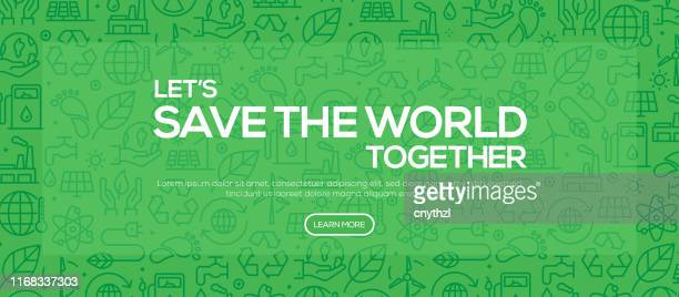 save the world together - green pattern style web banner design - environmental damage stock illustrations
