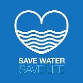 save water icon. Water in the heart.