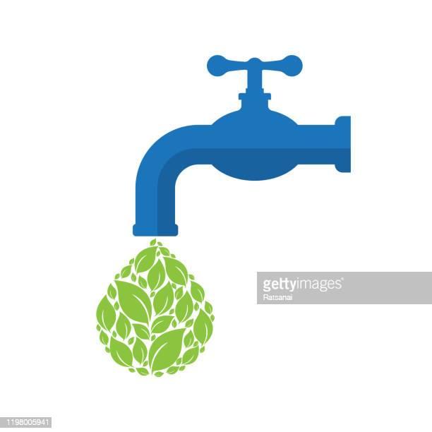 ilustrações de stock, clip art, desenhos animados e ícones de save water - torneira