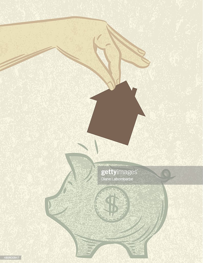 Saving For A House Piggy Bank : Vector Art