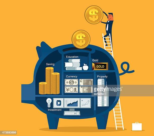 ilustraciones, imágenes clip art, dibujos animados e iconos de stock de ahorro dinero - ahorros