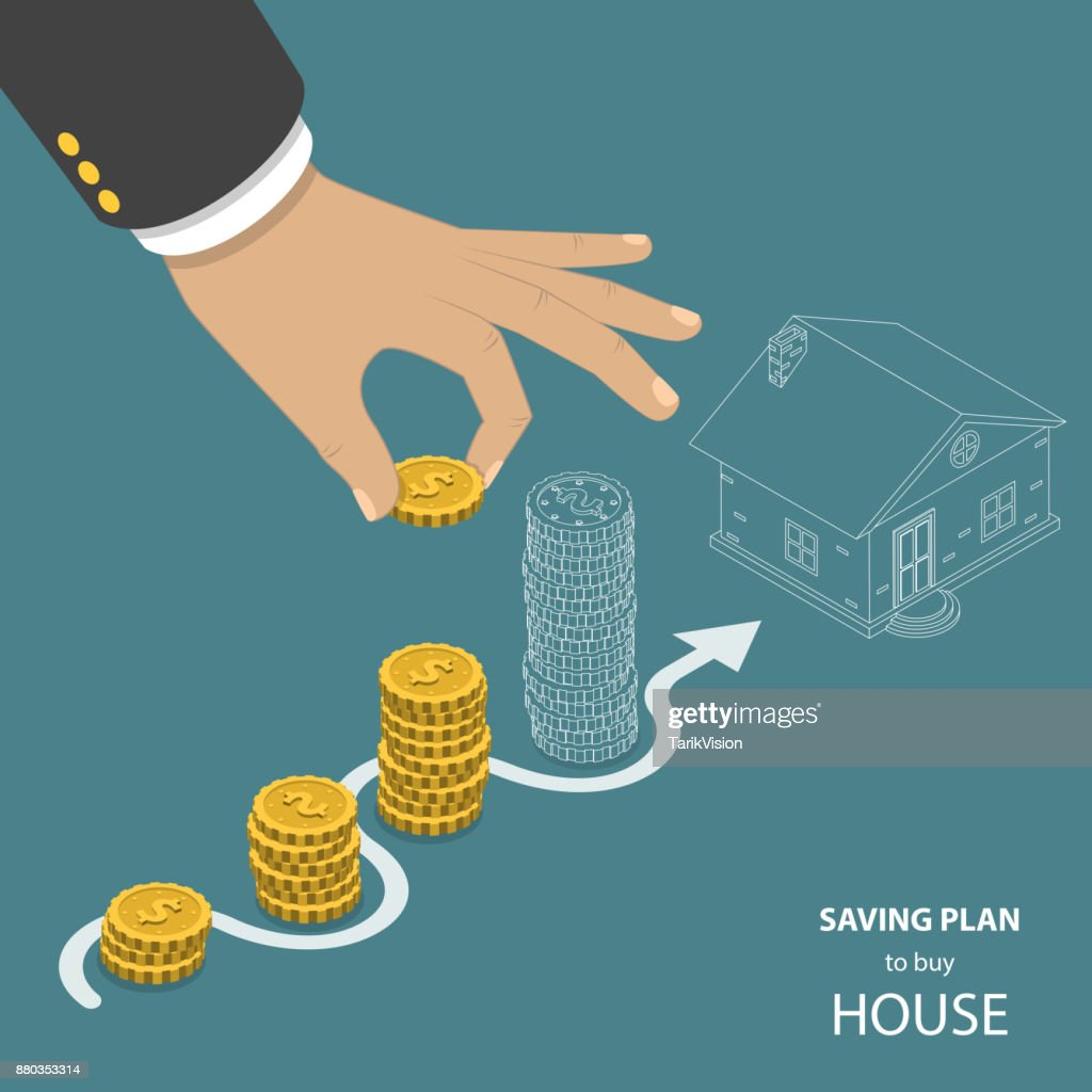 Saving plan to buy house flat isometric vector concept.