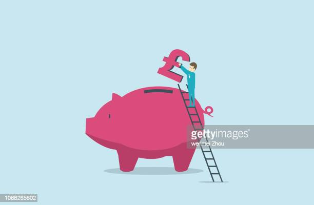 savings - pound symbol stock illustrations