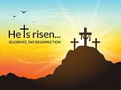 Saviour's cross with sunrise scene.