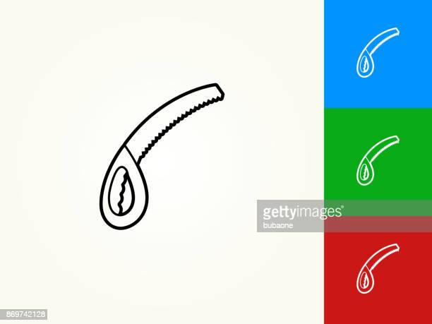 saw black stroke linear icon - serrated stock illustrations, clip art, cartoons, & icons
