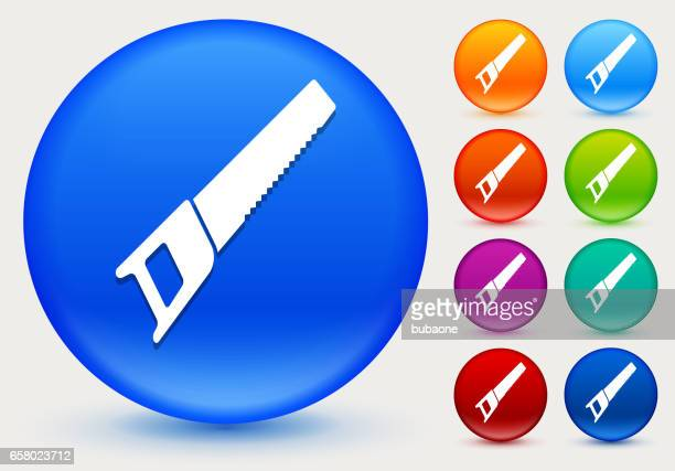 saw icon on shiny color circle buttons - serrated stock illustrations, clip art, cartoons, & icons