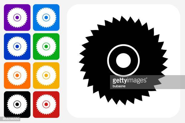 saw icon square button set - power tool stock illustrations, clip art, cartoons, & icons
